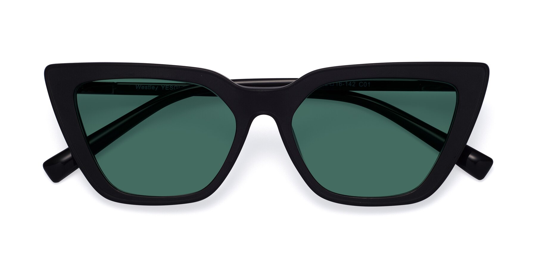 Folded Front of Westley in Matte Black with Green Polarized Lenses