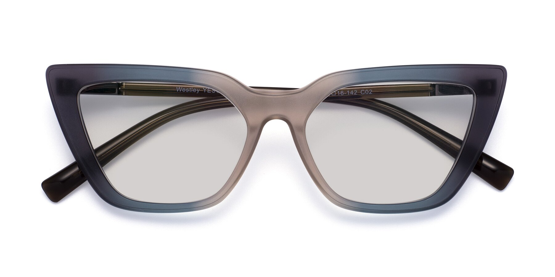 Folded Front of Westley in Gradient Grey with Light Gray Tinted Lenses