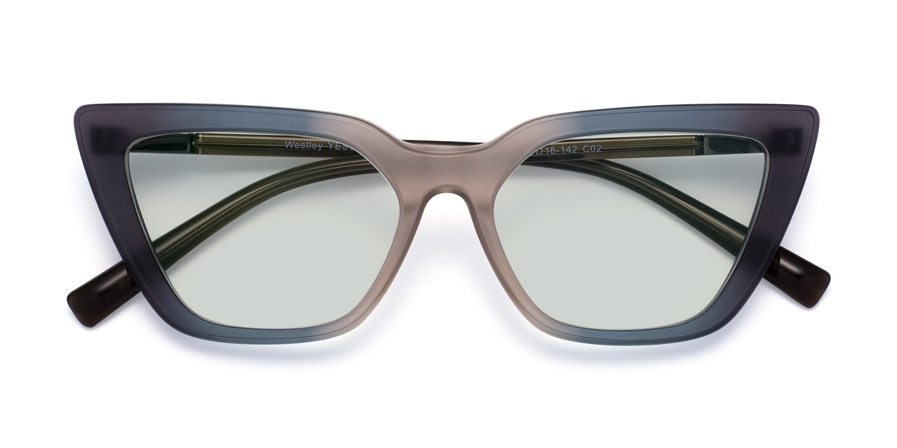 Folded Front of Westley in Gradient Grey with Light Green Tinted Lenses
