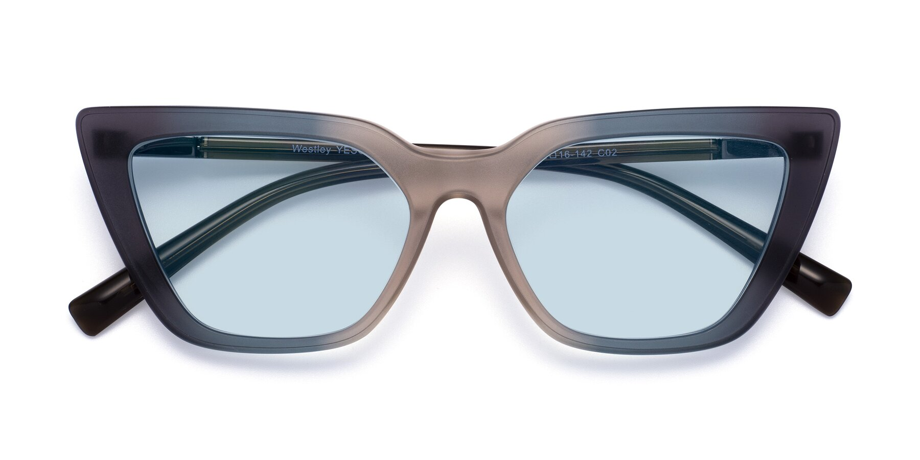 Folded Front of Westley in Gradient Grey with Light Blue Tinted Lenses