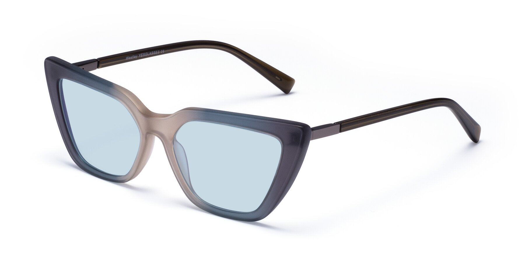 Angle of Westley in Gradient Grey with Light Blue Tinted Lenses