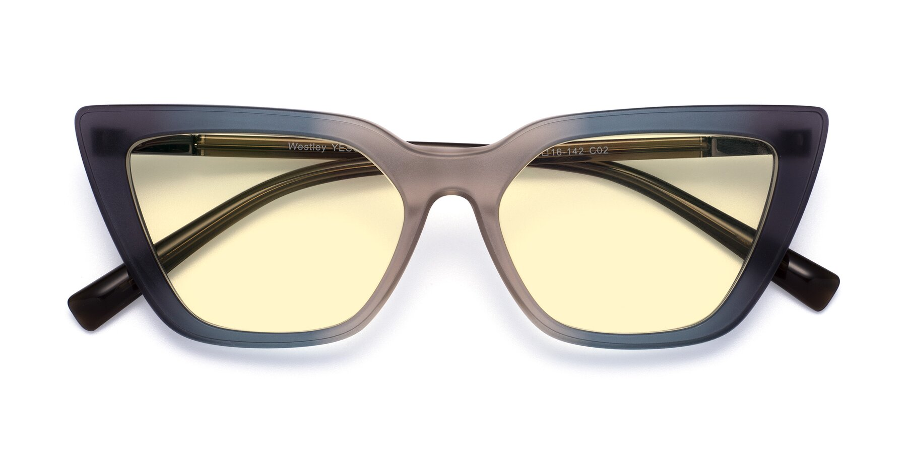 Folded Front of Westley in Gradient Grey with Light Yellow Tinted Lenses