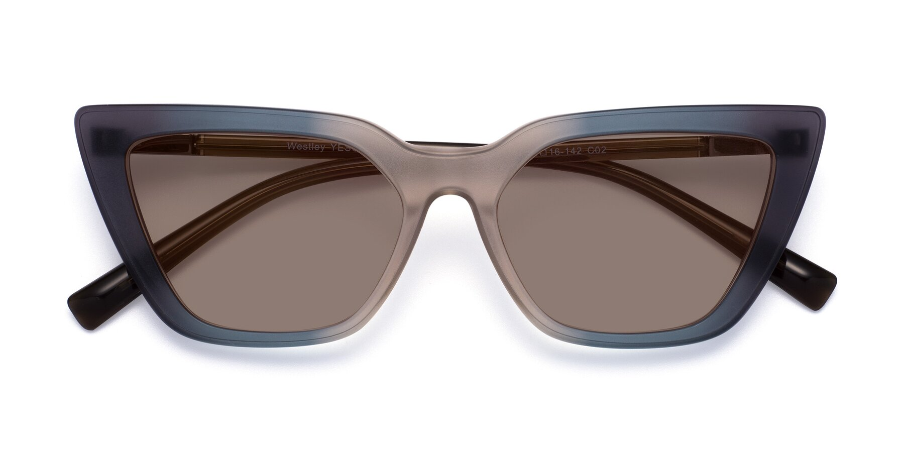 Folded Front of Westley in Gradient Grey with Medium Brown Tinted Lenses
