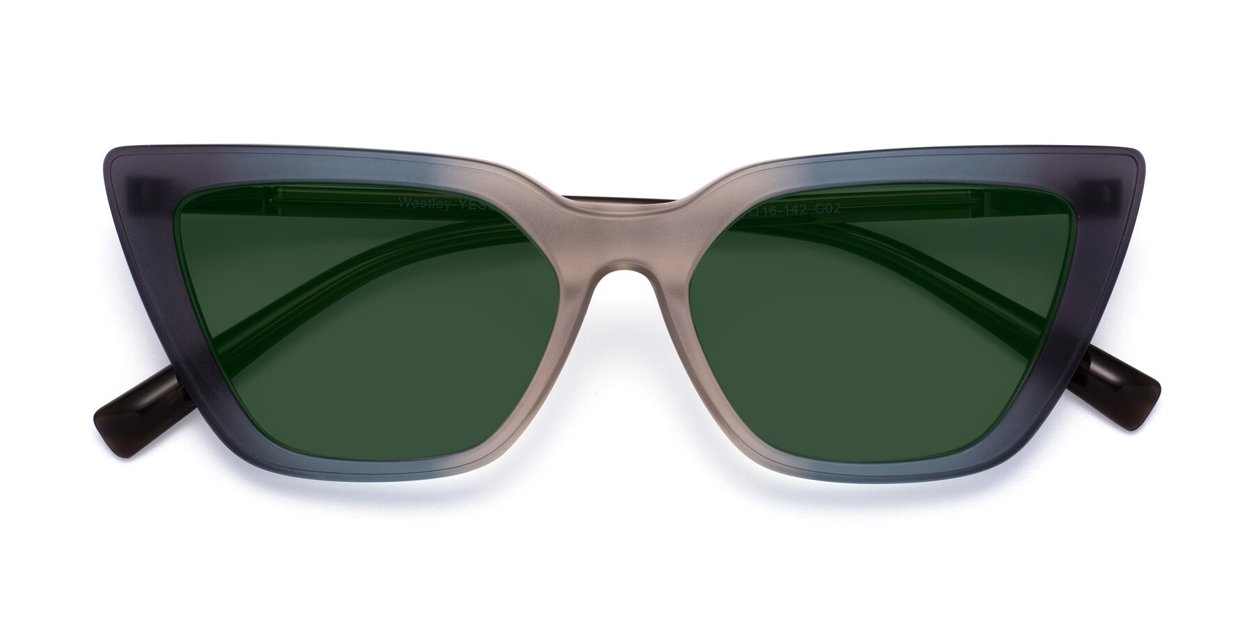 Folded Front of Westley in Gradient Grey with Green Tinted Lenses