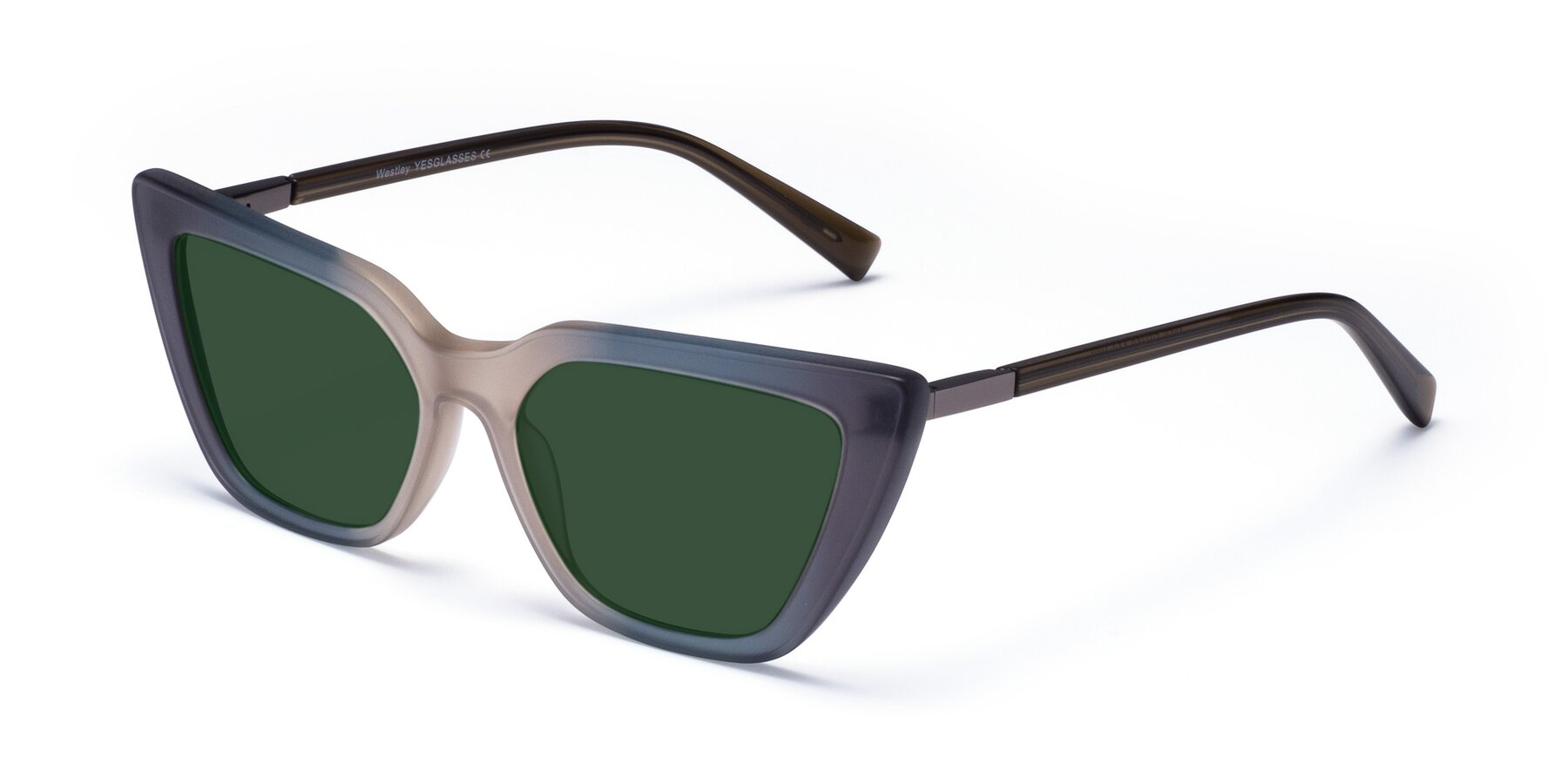 Angle of Westley in Gradient Grey with Green Tinted Lenses