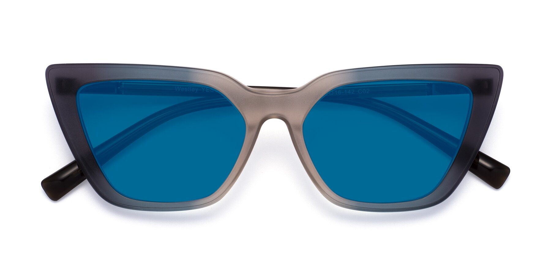 Folded Front of Westley in Gradient Grey with Blue Tinted Lenses