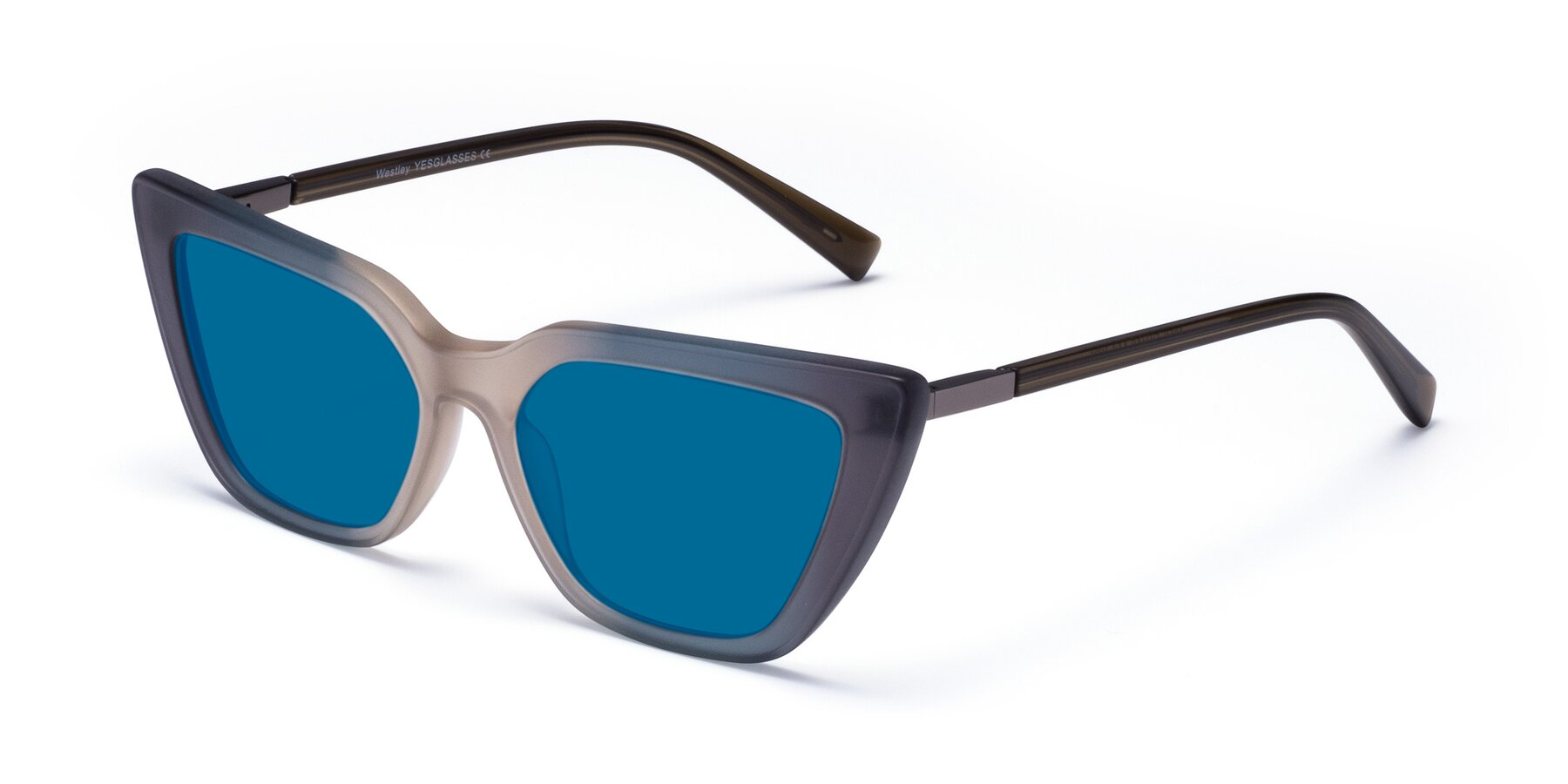 Angle of Westley in Gradient Grey with Blue Tinted Lenses