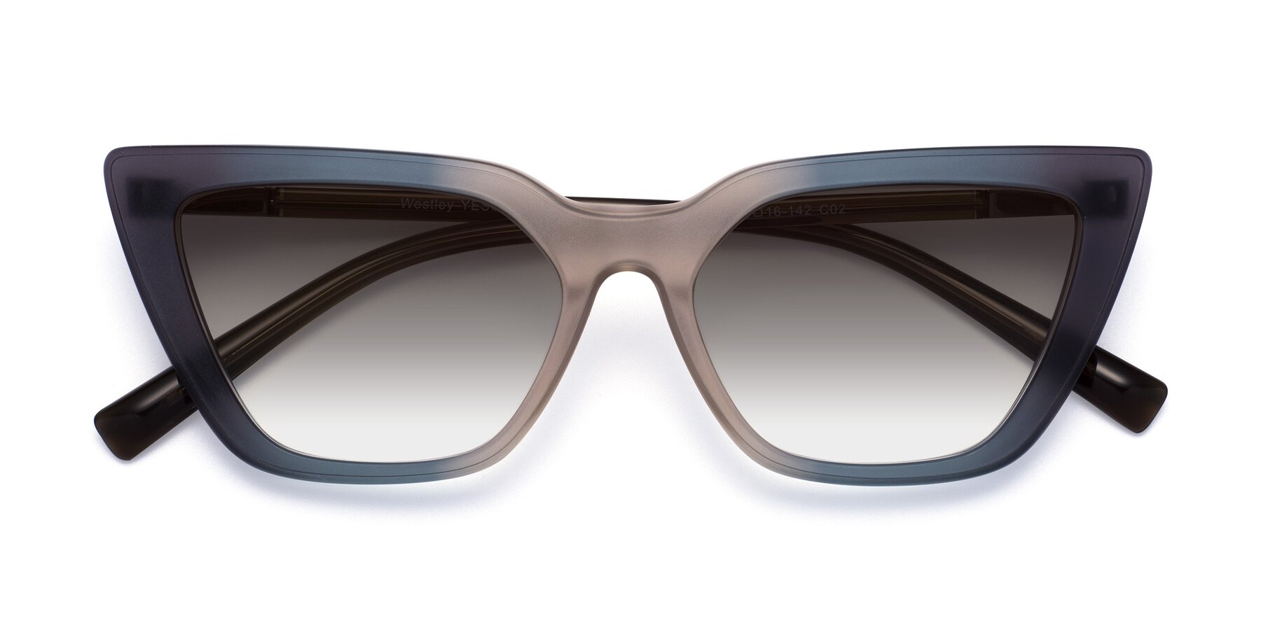 Folded Front of Westley in Gradient Grey with Gray Gradient Lenses