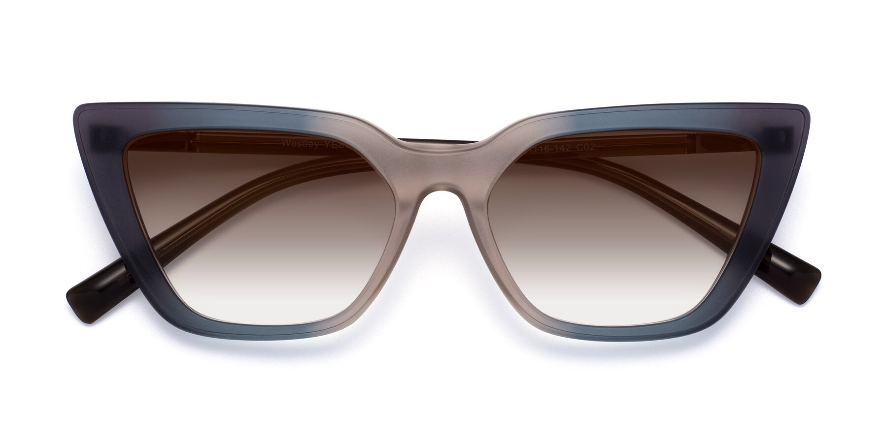 Folded Front of Westley in Gradient Grey with Brown Gradient Lenses