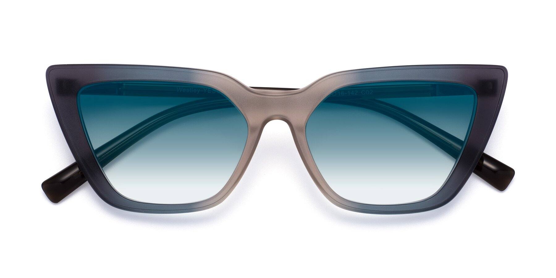 Folded Front of Westley in Gradient Grey with Blue Gradient Lenses