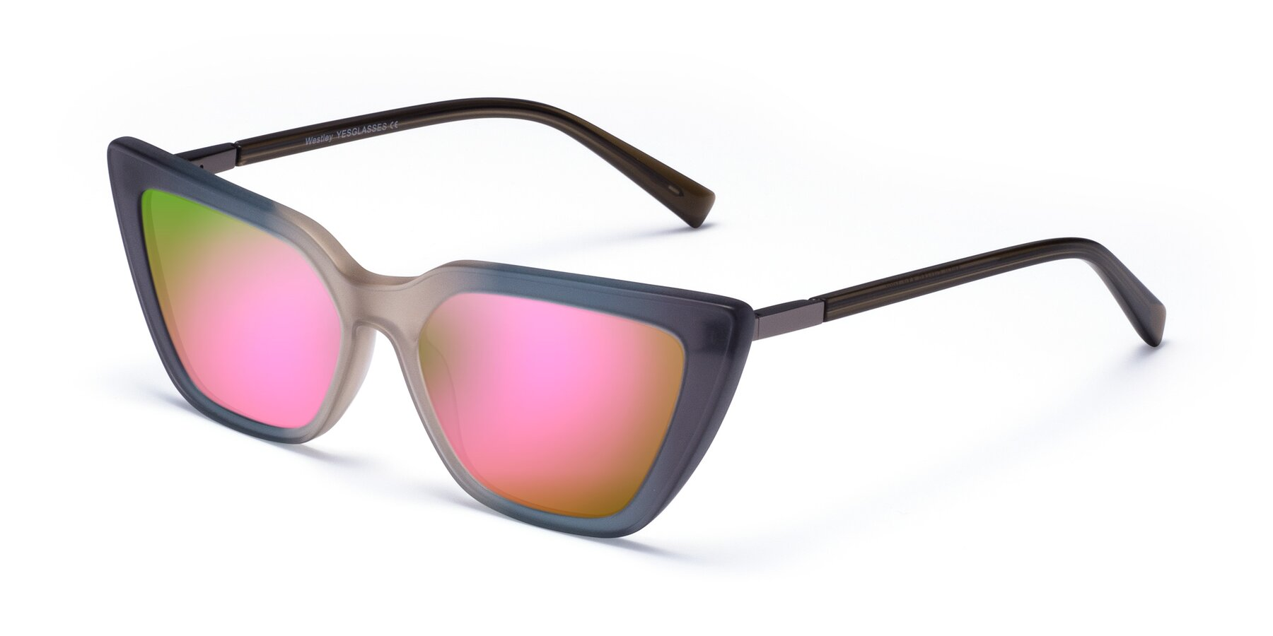 Angle of Westley in Gradient Grey with Pink Mirrored Lenses