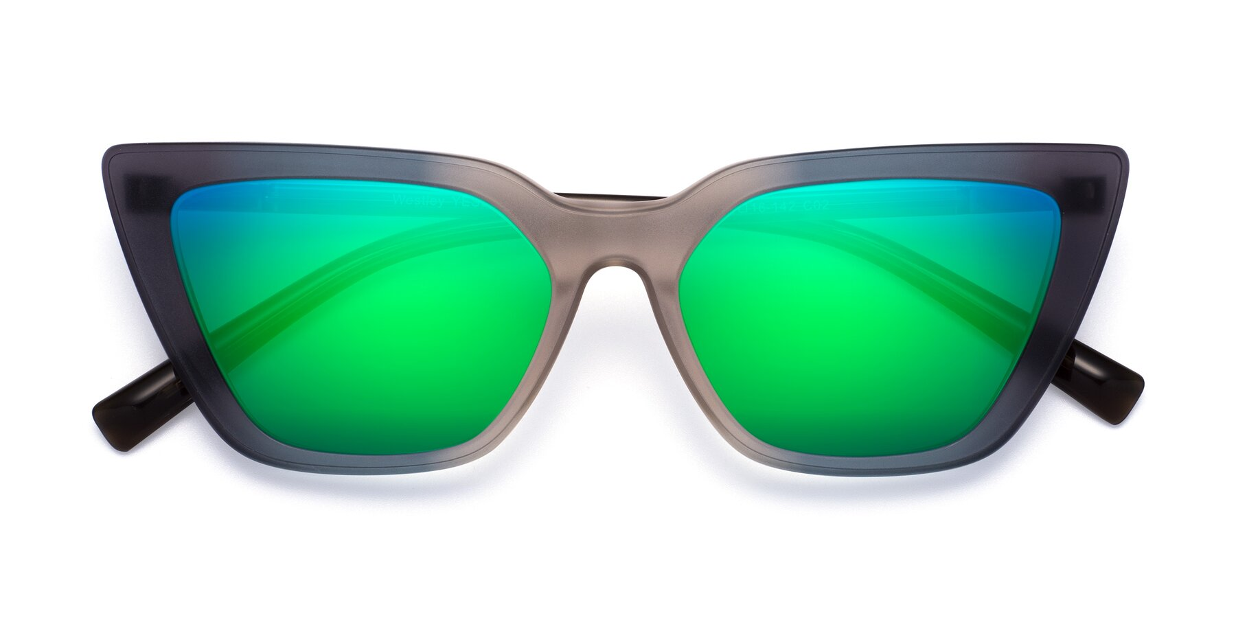 Folded Front of Westley in Gradient Grey with Green Mirrored Lenses