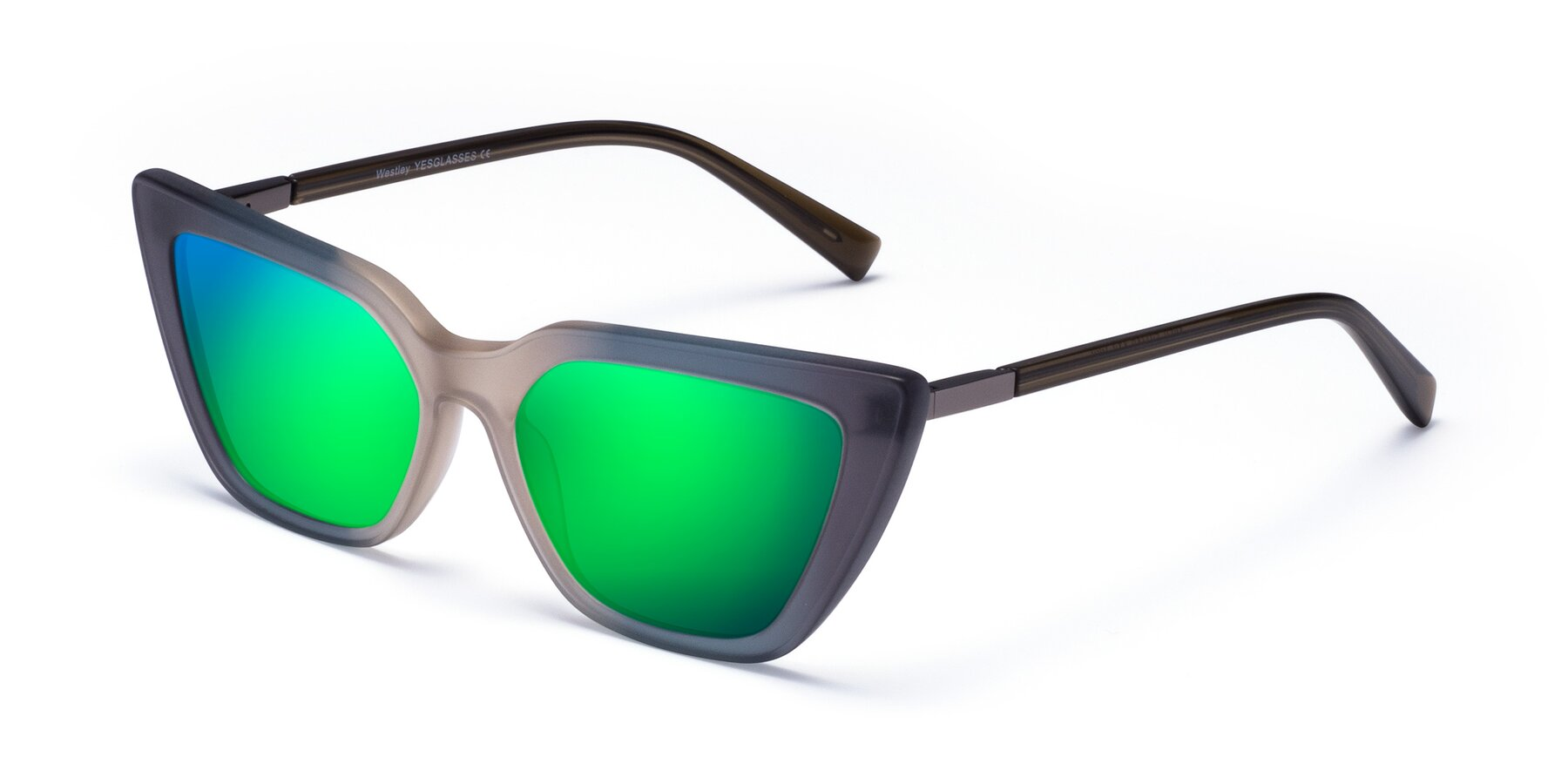 Angle of Westley in Gradient Grey with Green Mirrored Lenses