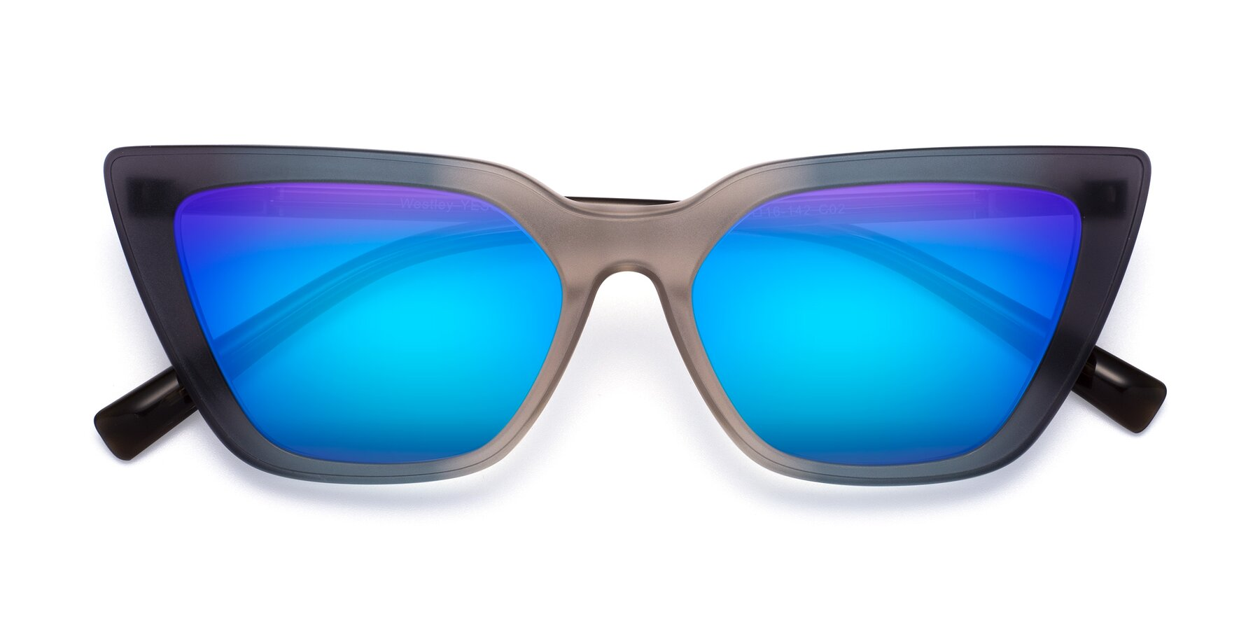 Folded Front of Westley in Gradient Grey with Blue Mirrored Lenses