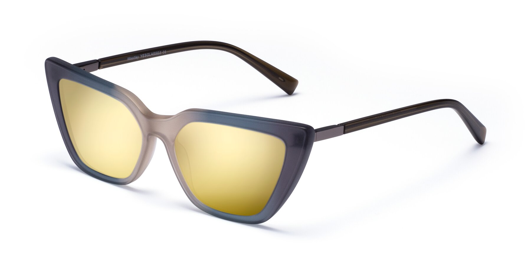 Angle of Westley in Gradient Grey with Gold Mirrored Lenses