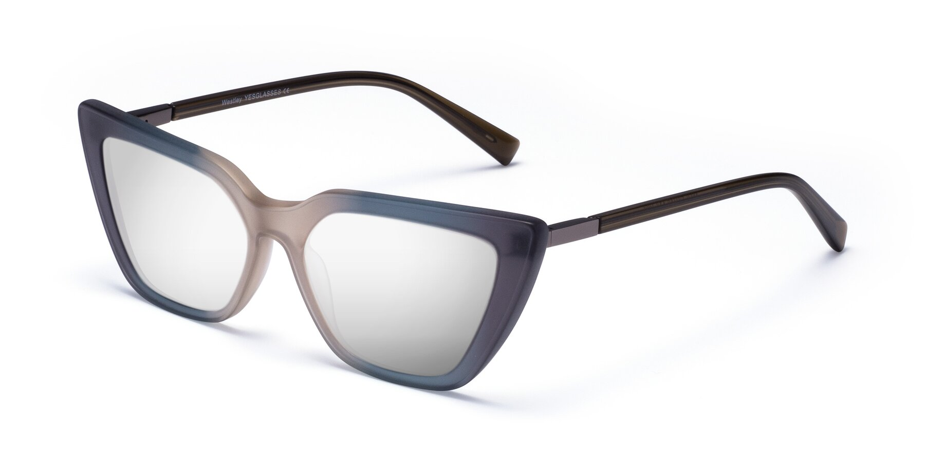 Angle of Westley in Gradient Grey with Silver Mirrored Lenses