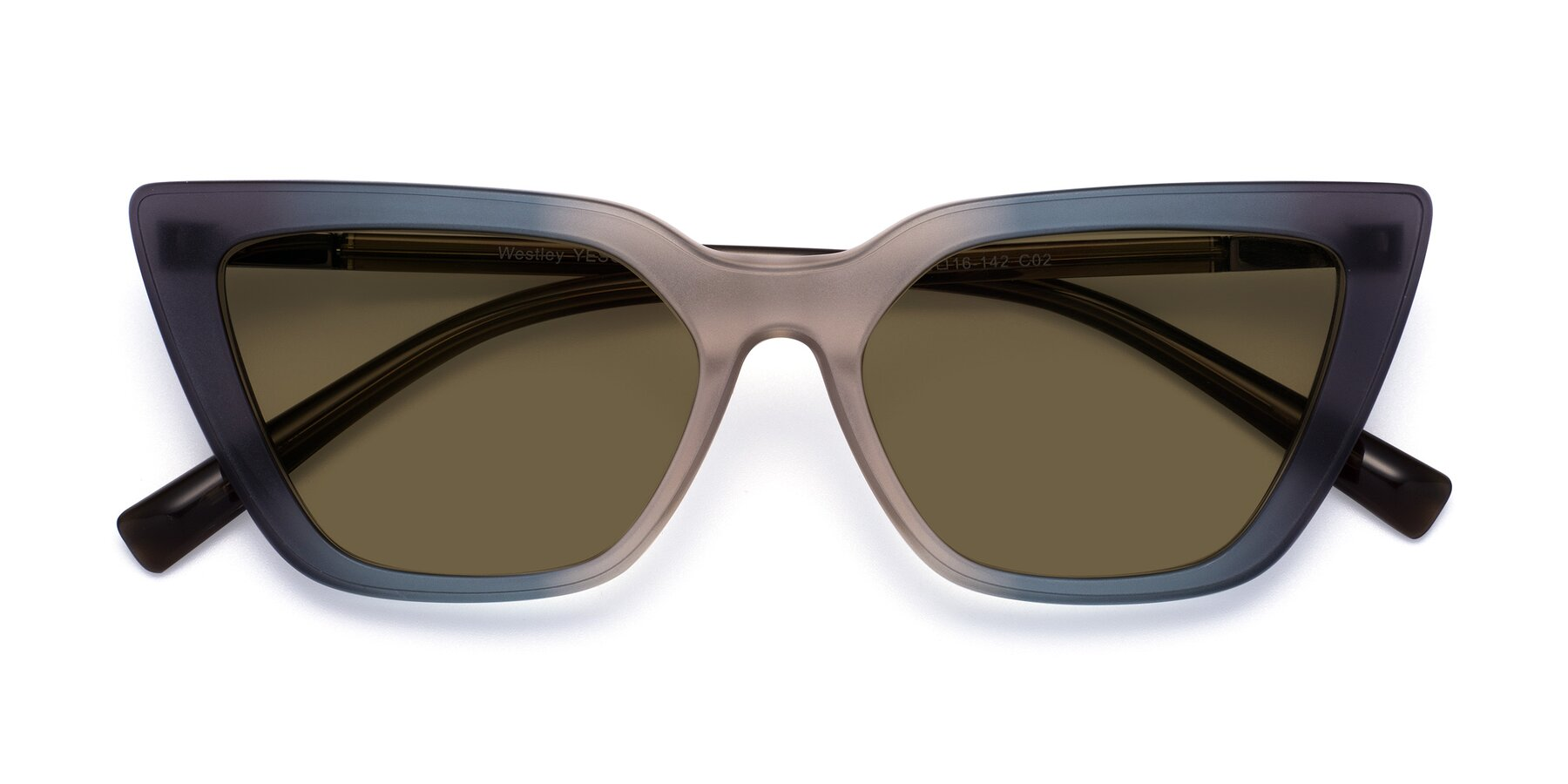 Folded Front of Westley in Gradient Grey with Brown Polarized Lenses