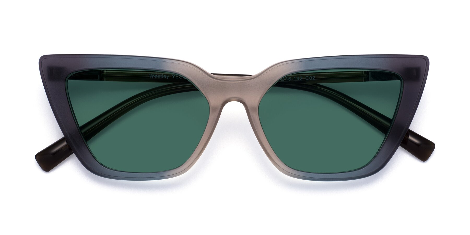 Folded Front of Westley in Gradient Grey with Green Polarized Lenses