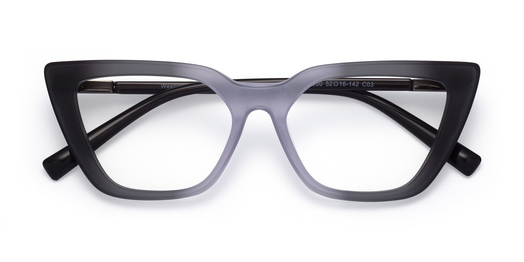 Folded Front of Westley in Gradient Black with Clear Eyeglass Lenses