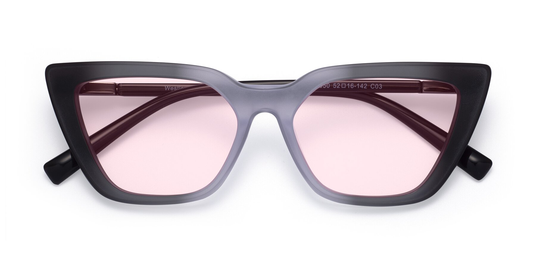 Folded Front of Westley in Gradient Black with Light Pink Tinted Lenses