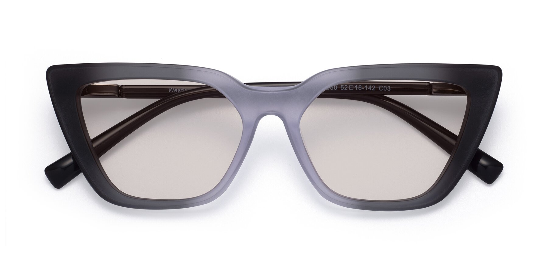 Folded Front of Westley in Gradient Black with Light Brown Tinted Lenses