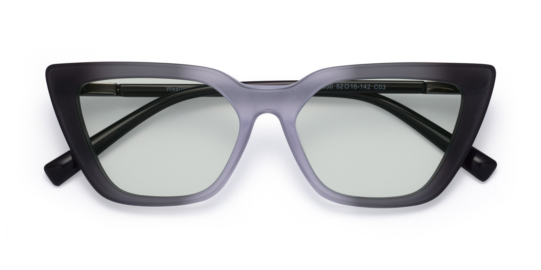 Folded Front of Westley in Gradient Black with Light Green Tinted Lenses