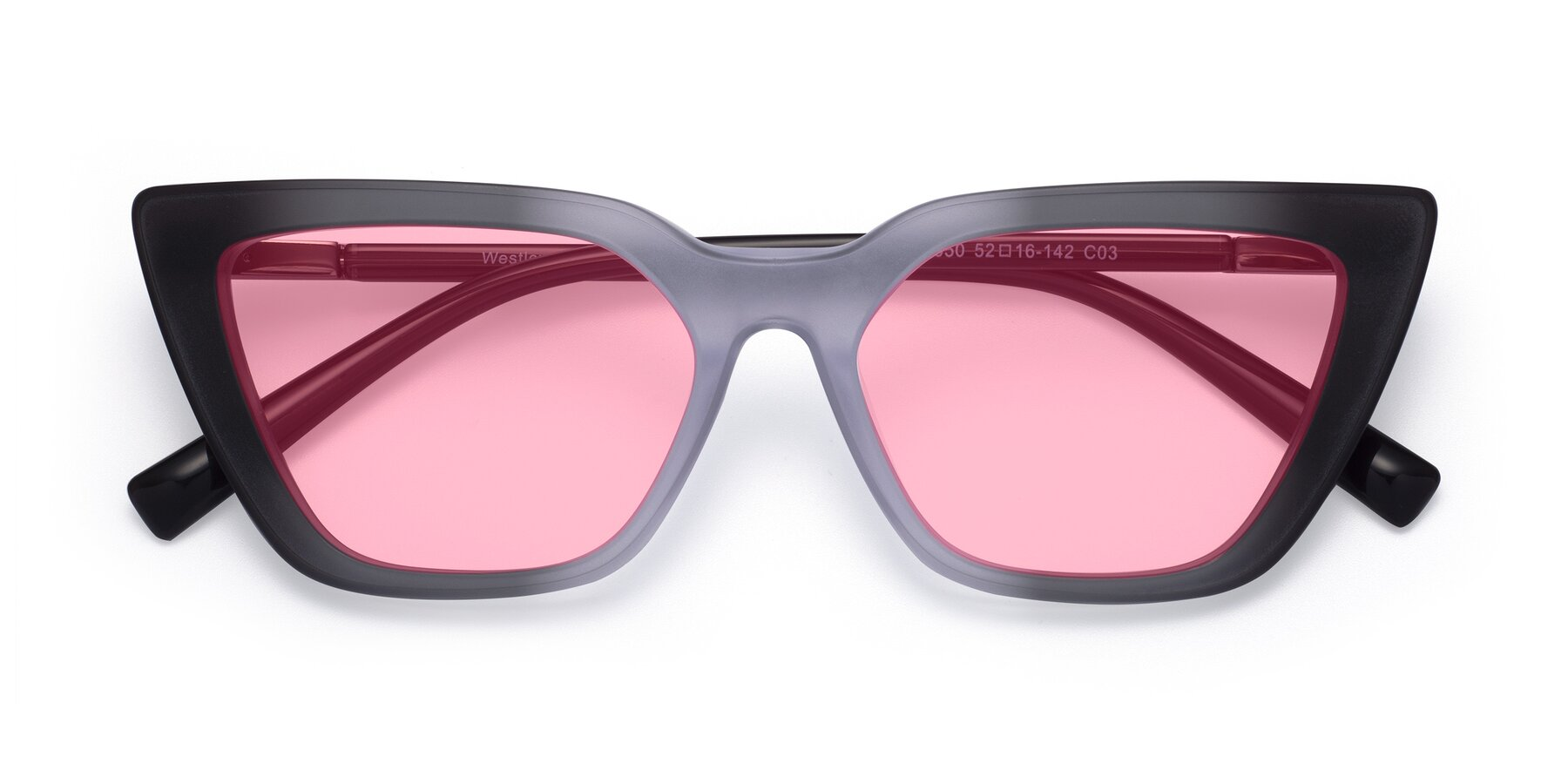 Folded Front of Westley in Gradient Black with Medium Pink Tinted Lenses