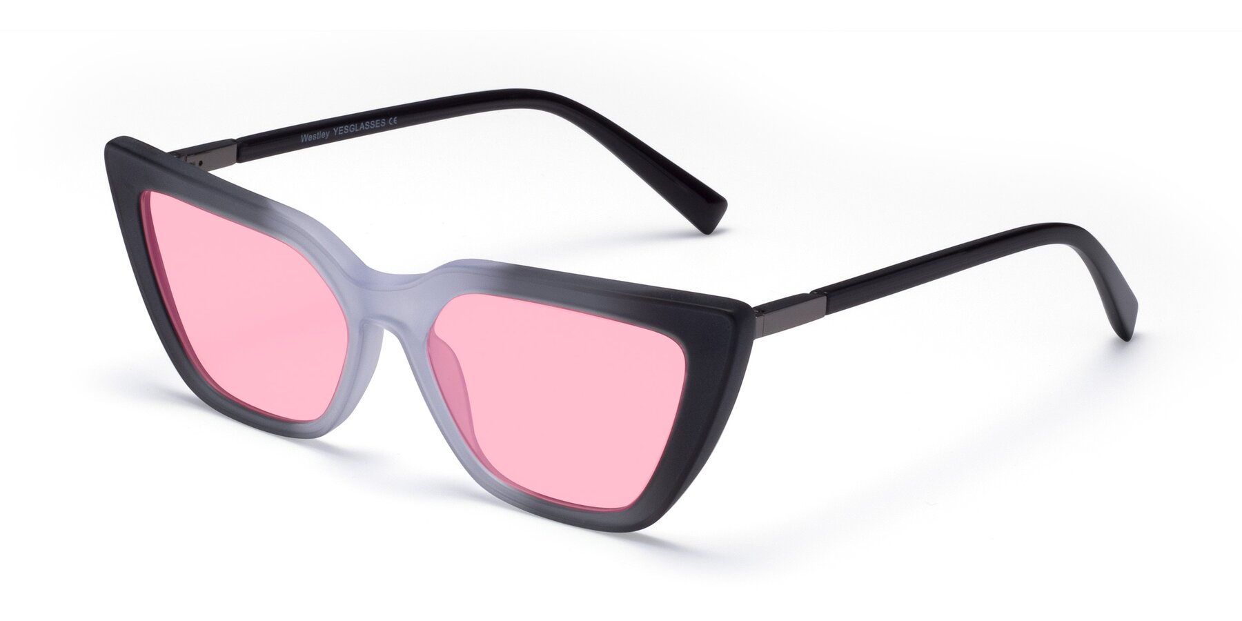 Angle of Westley in Gradient Black with Medium Pink Tinted Lenses