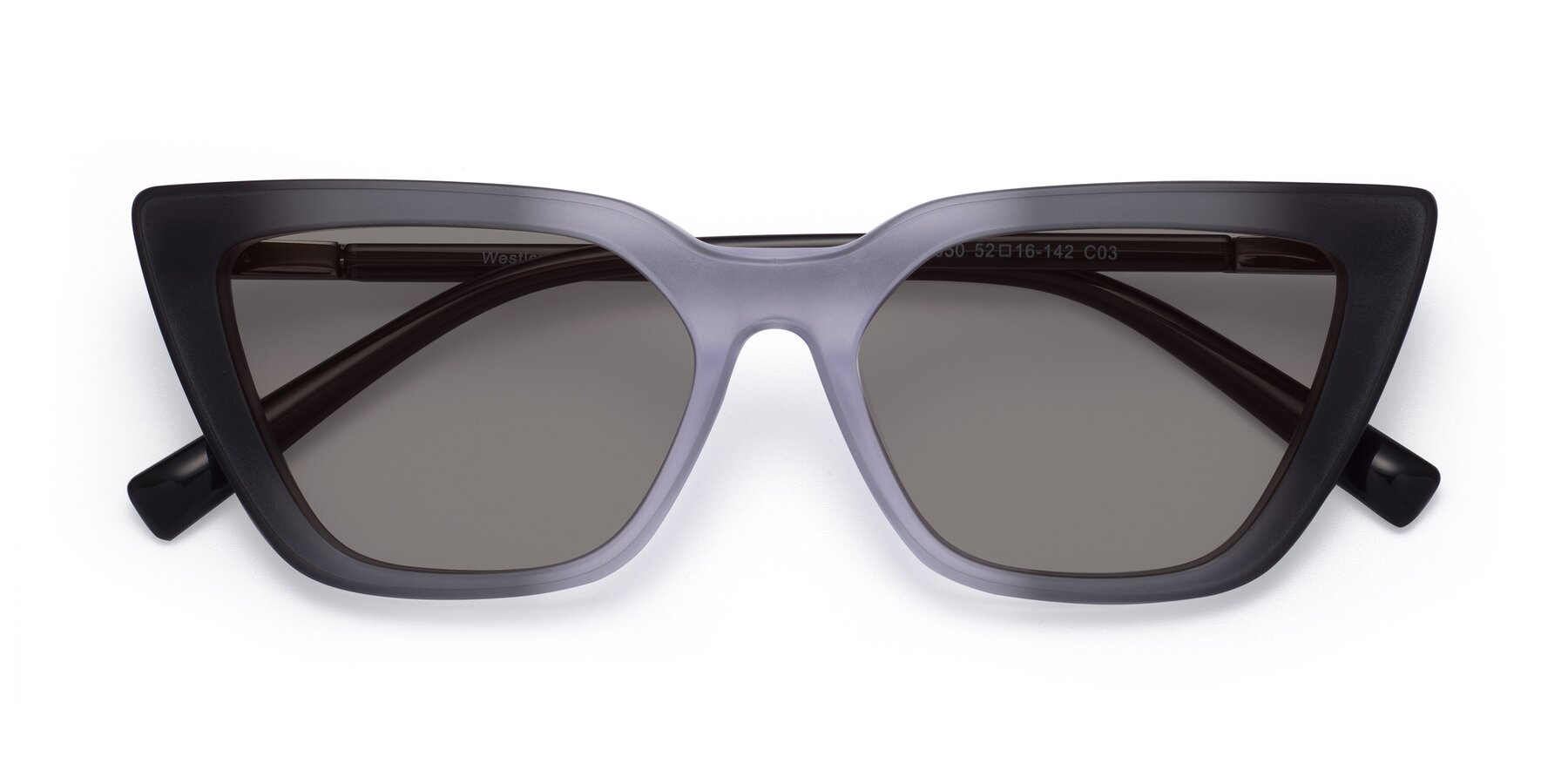 Folded Front of Westley in Gradient Black with Medium Gray Tinted Lenses