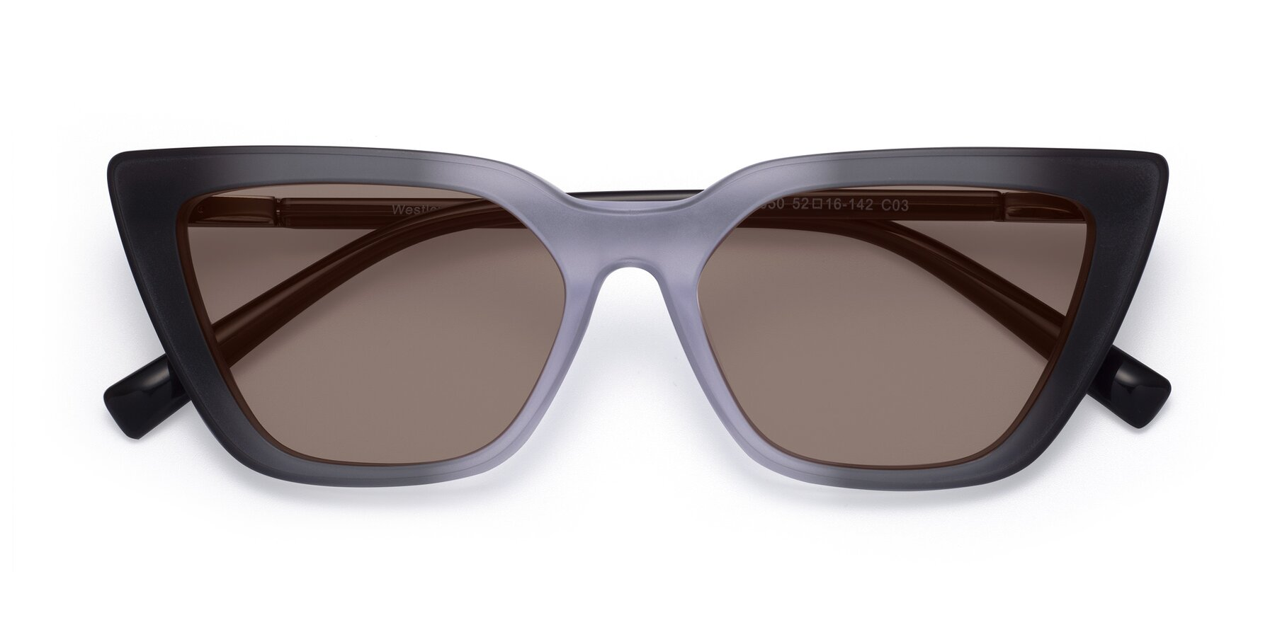 Folded Front of Westley in Gradient Black with Medium Brown Tinted Lenses
