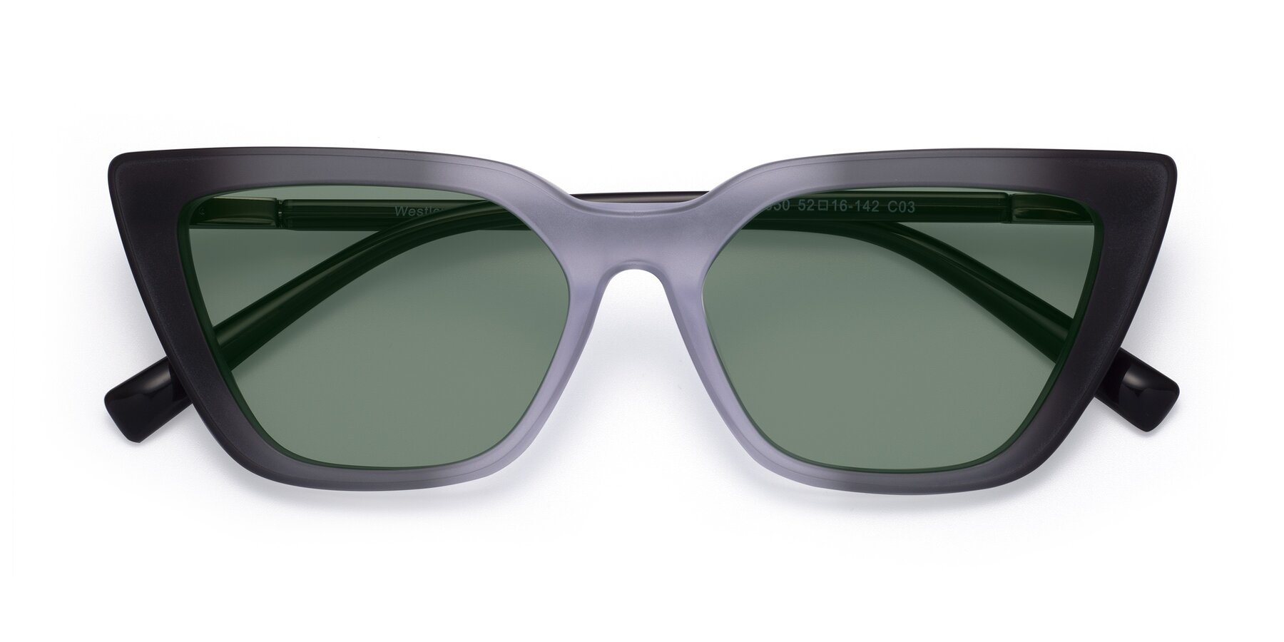 Folded Front of Westley in Gradient Black with Medium Green Tinted Lenses