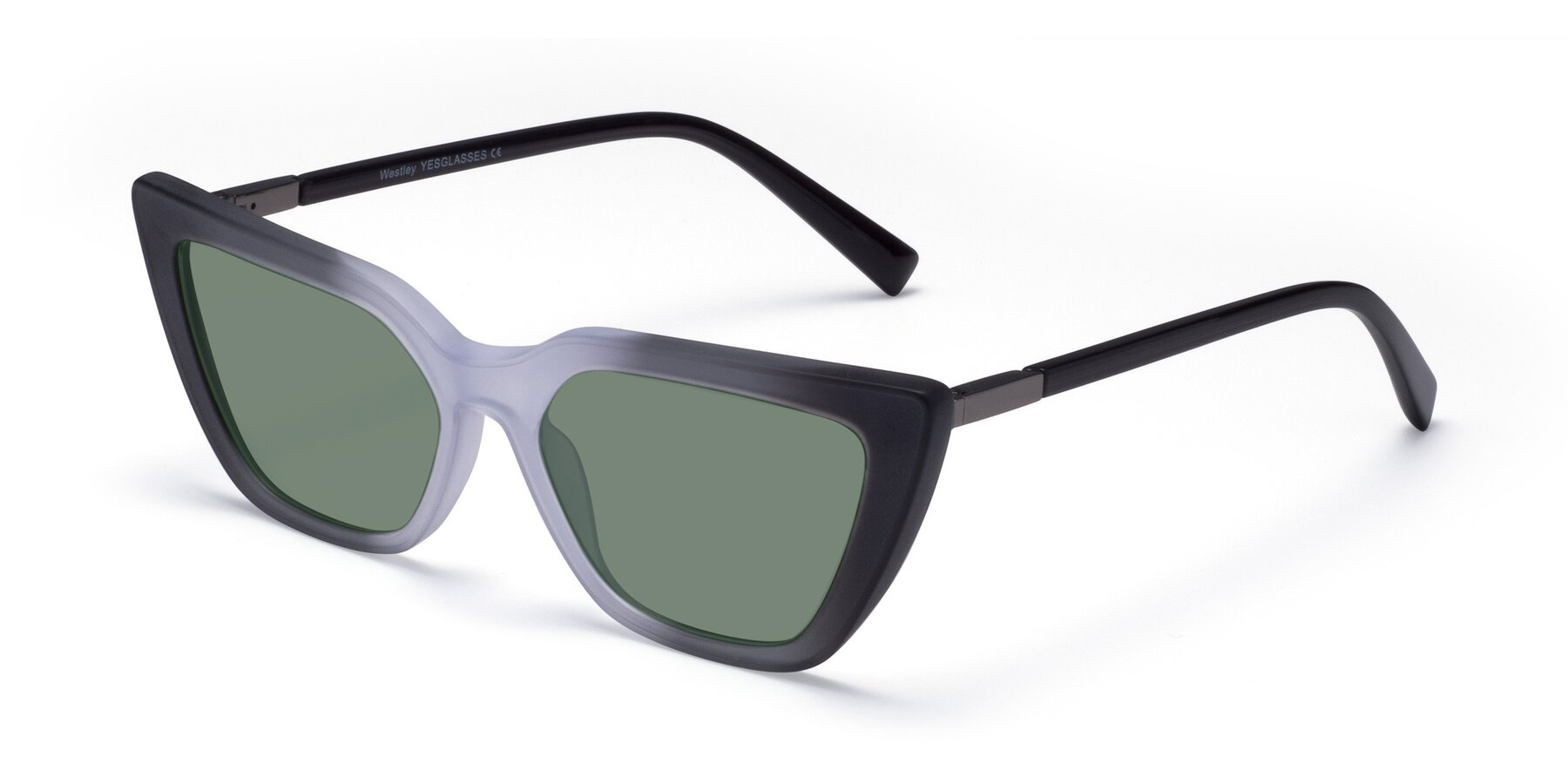 Angle of Westley in Gradient Black with Medium Green Tinted Lenses