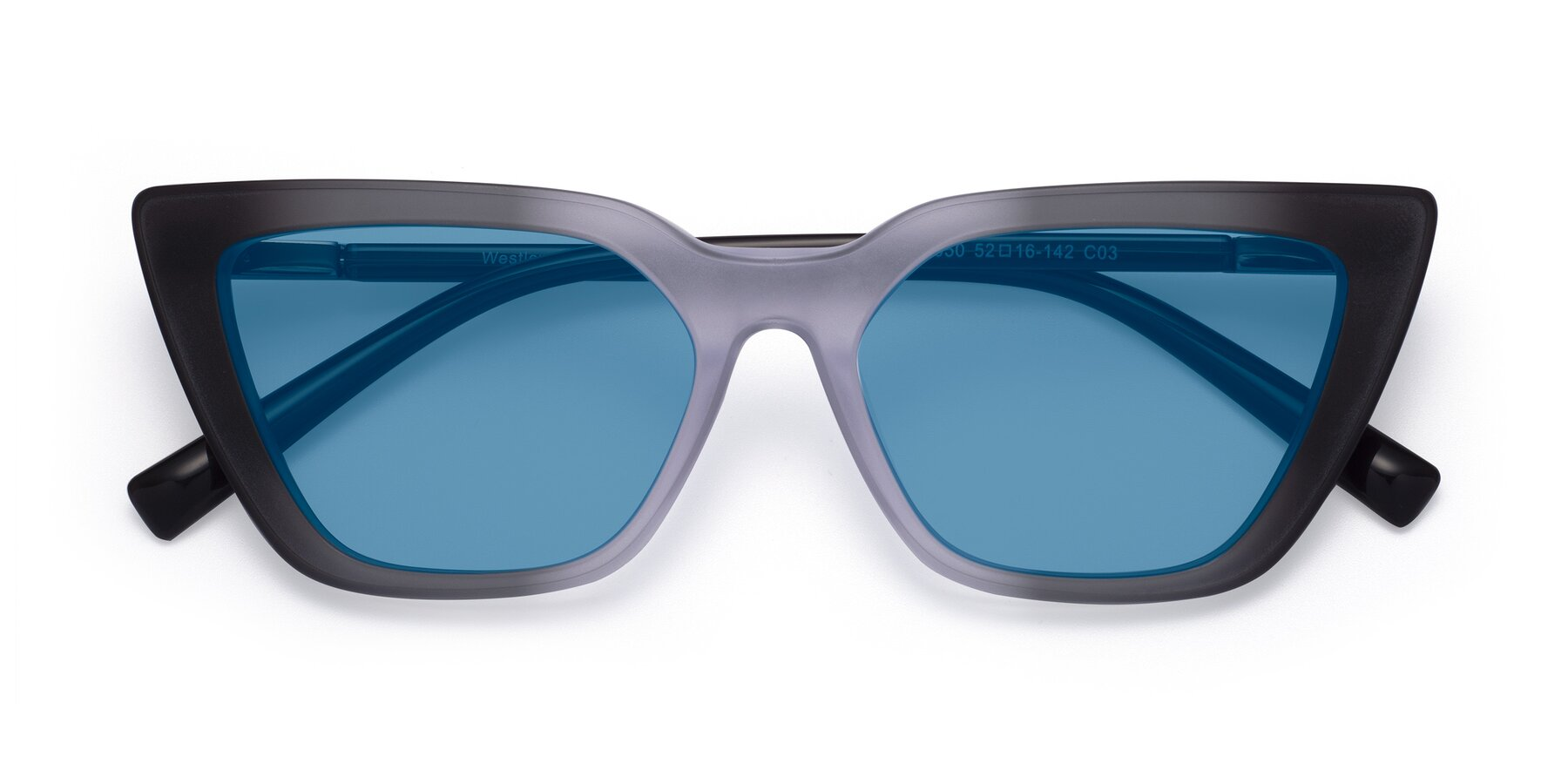Folded Front of Westley in Gradient Black with Medium Blue Tinted Lenses