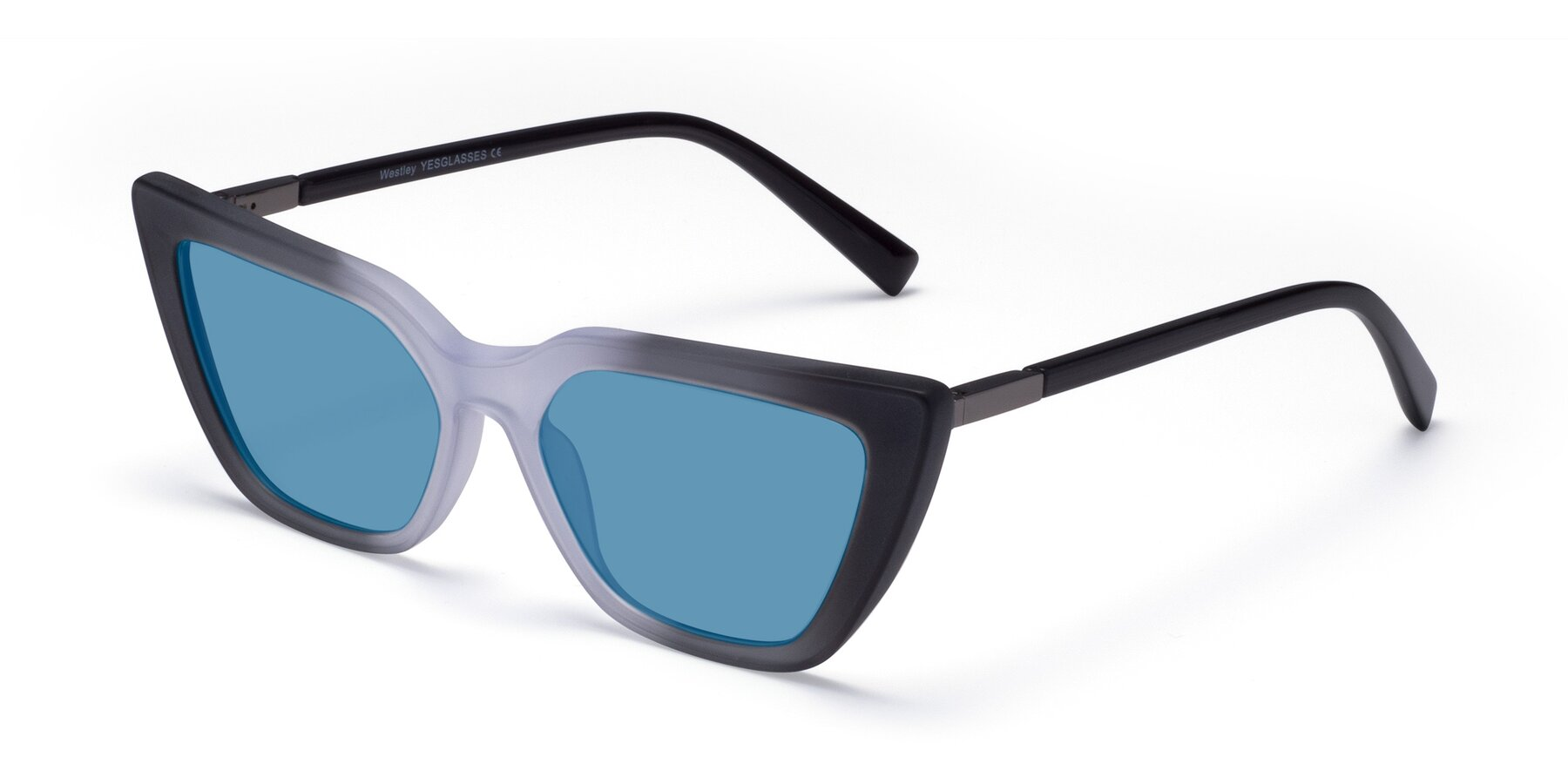 Angle of Westley in Gradient Black with Medium Blue Tinted Lenses