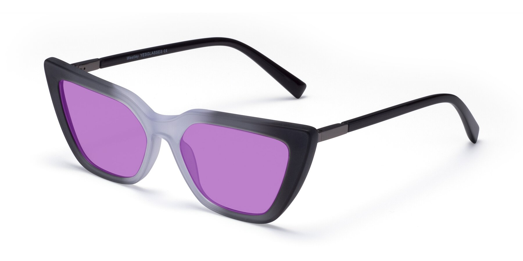 Angle of Westley in Gradient Black with Medium Purple Tinted Lenses