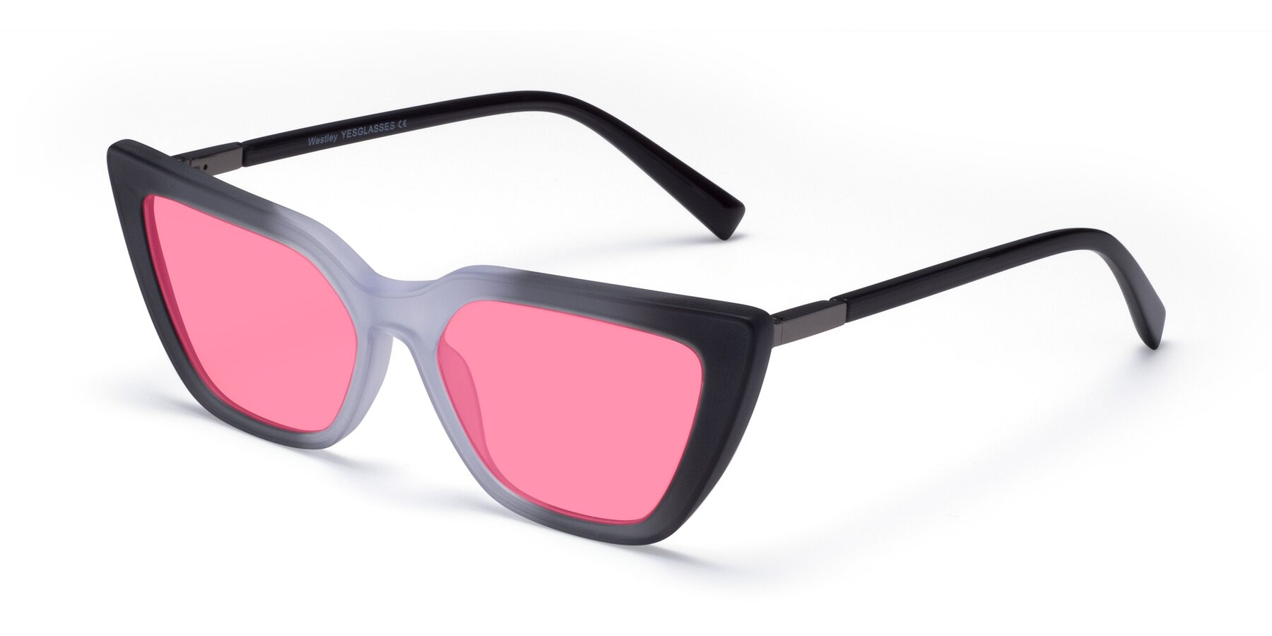 Angle of Westley in Gradient Black with Pink Tinted Lenses