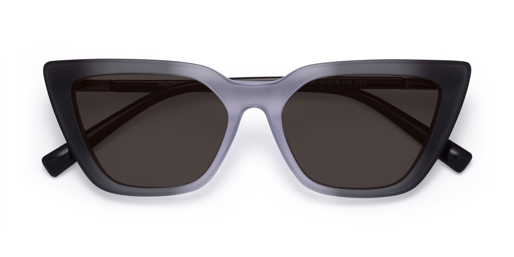 Folded Front of Westley in Gradient Black with Gray Tinted Lenses