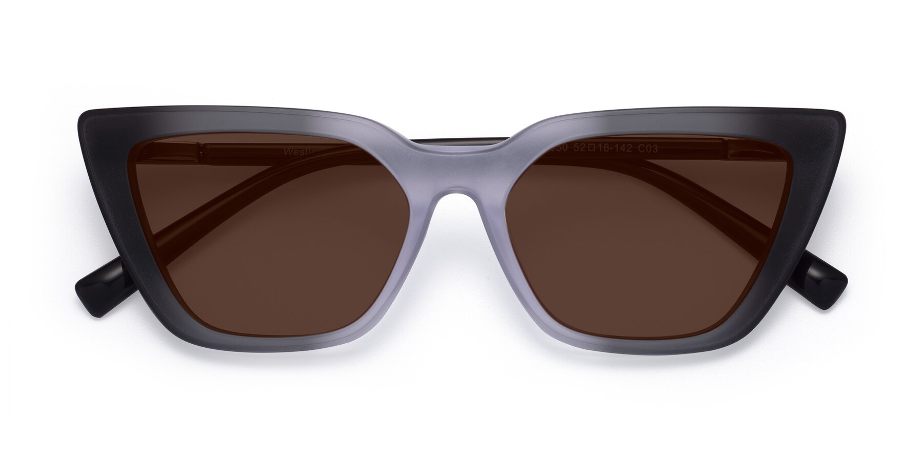 Folded Front of Westley in Gradient Black with Brown Tinted Lenses