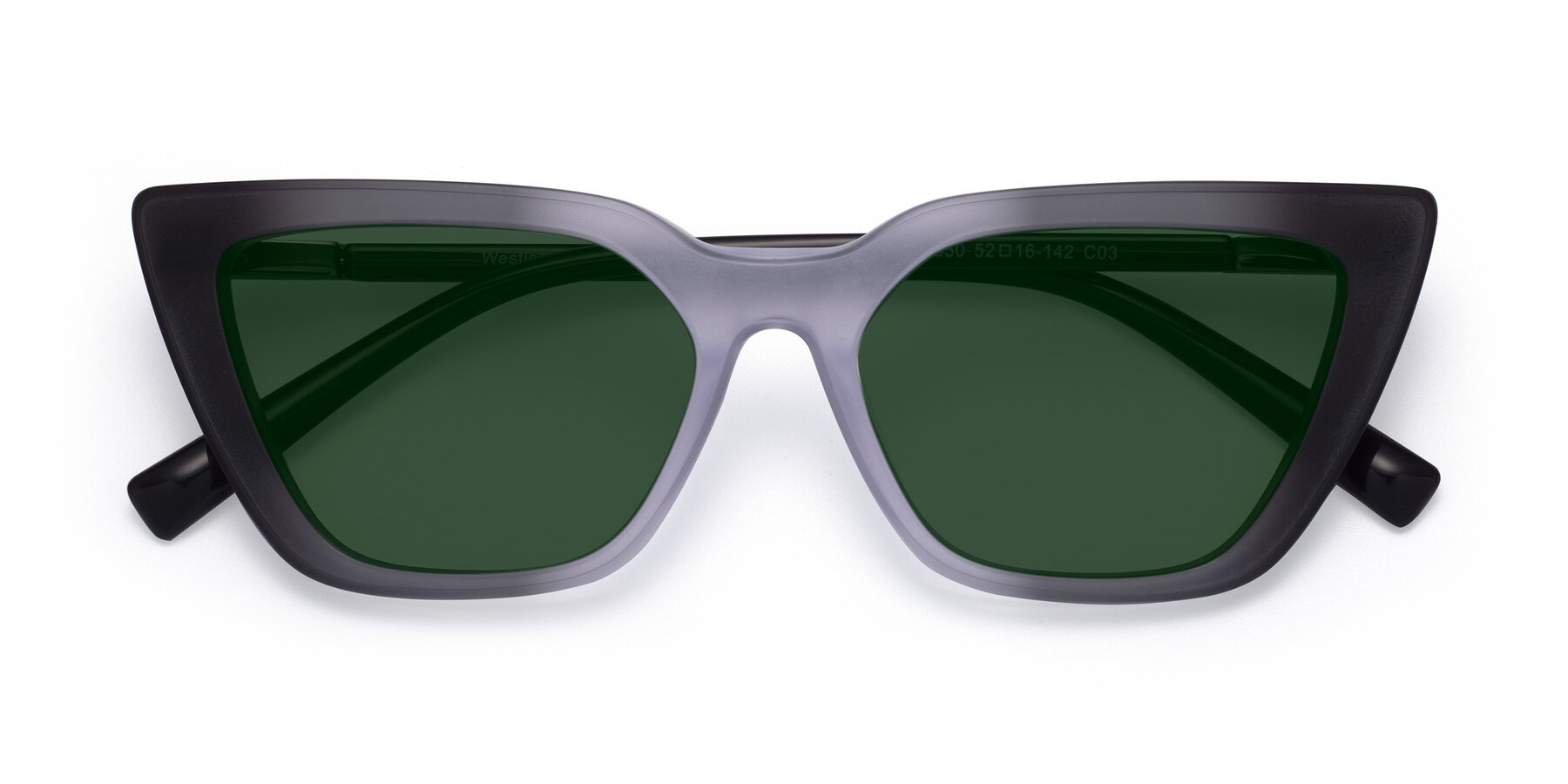 Folded Front of Westley in Gradient Black with Green Tinted Lenses