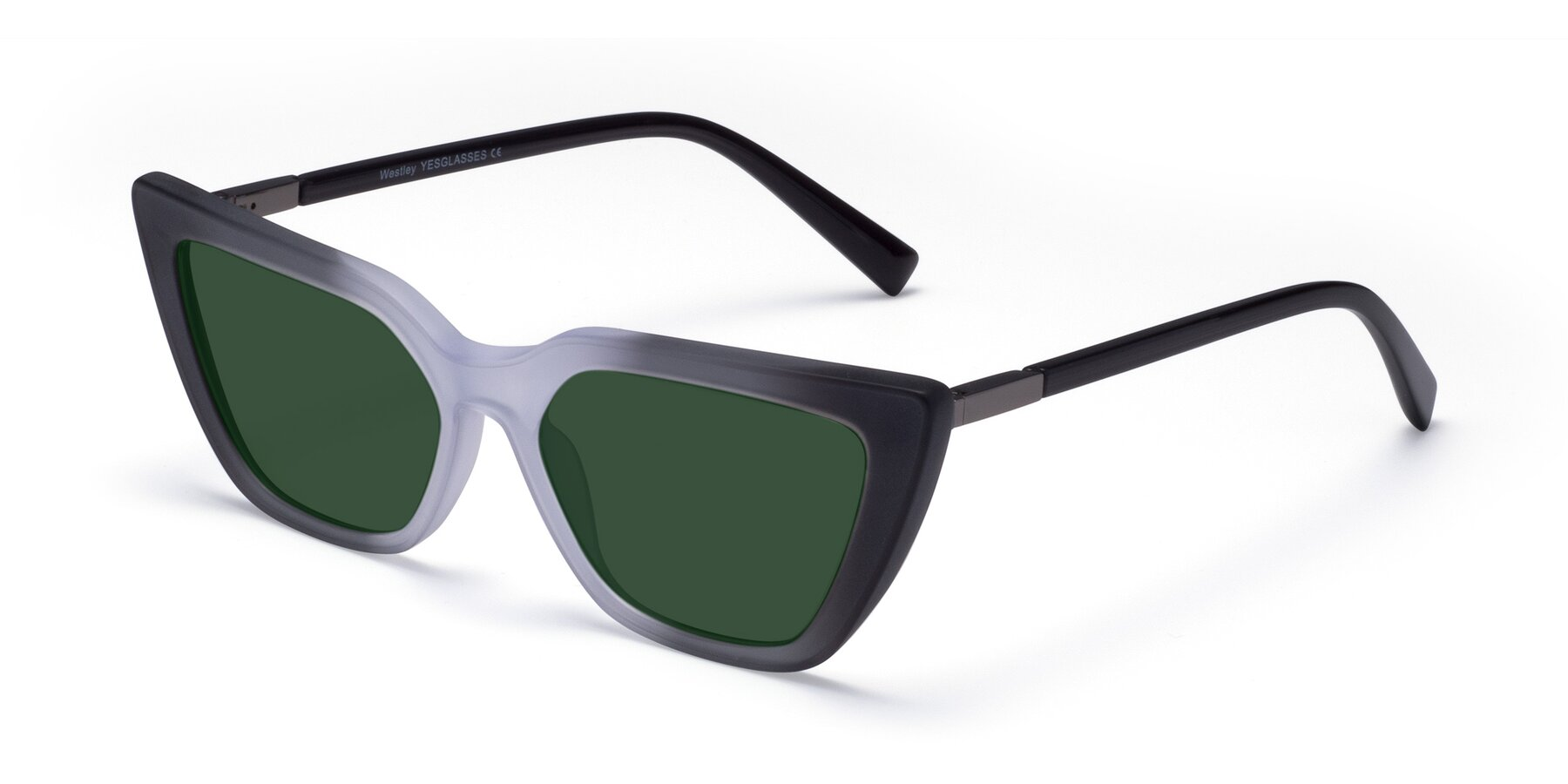 Angle of Westley in Gradient Black with Green Tinted Lenses