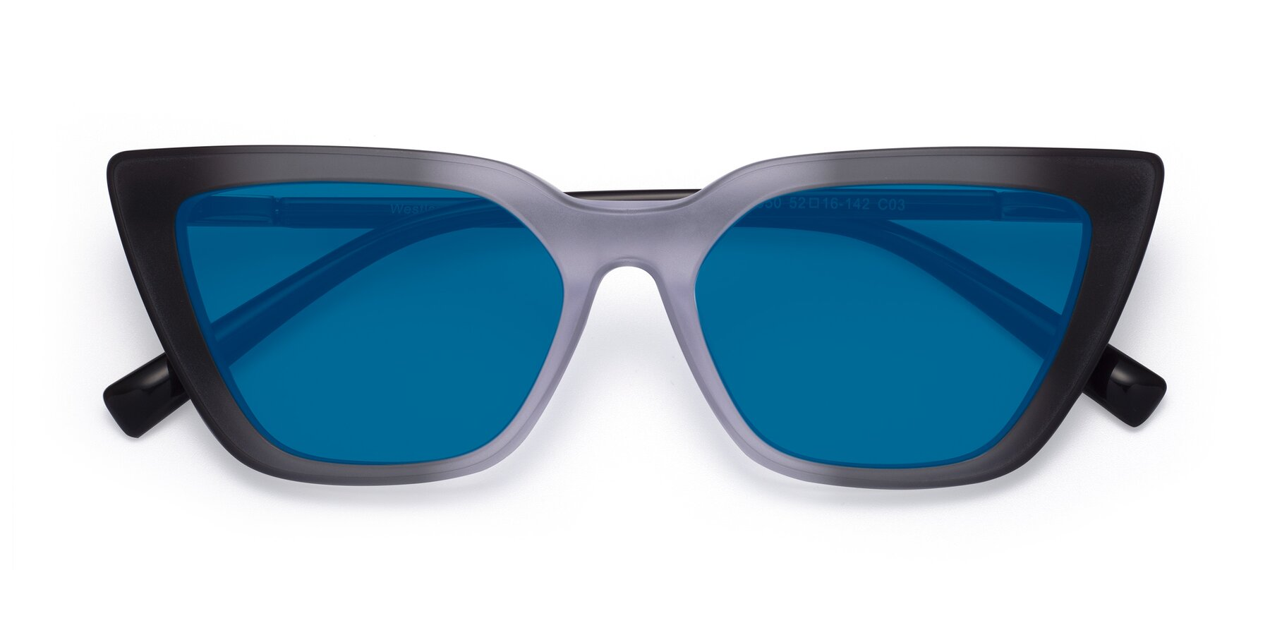 Folded Front of Westley in Gradient Black with Blue Tinted Lenses