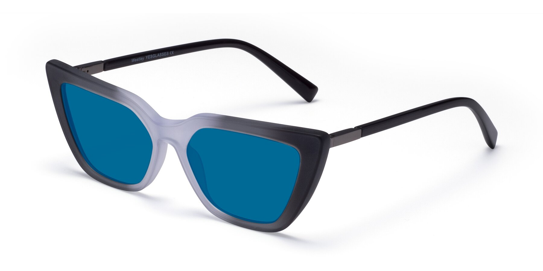 Angle of Westley in Gradient Black with Blue Tinted Lenses