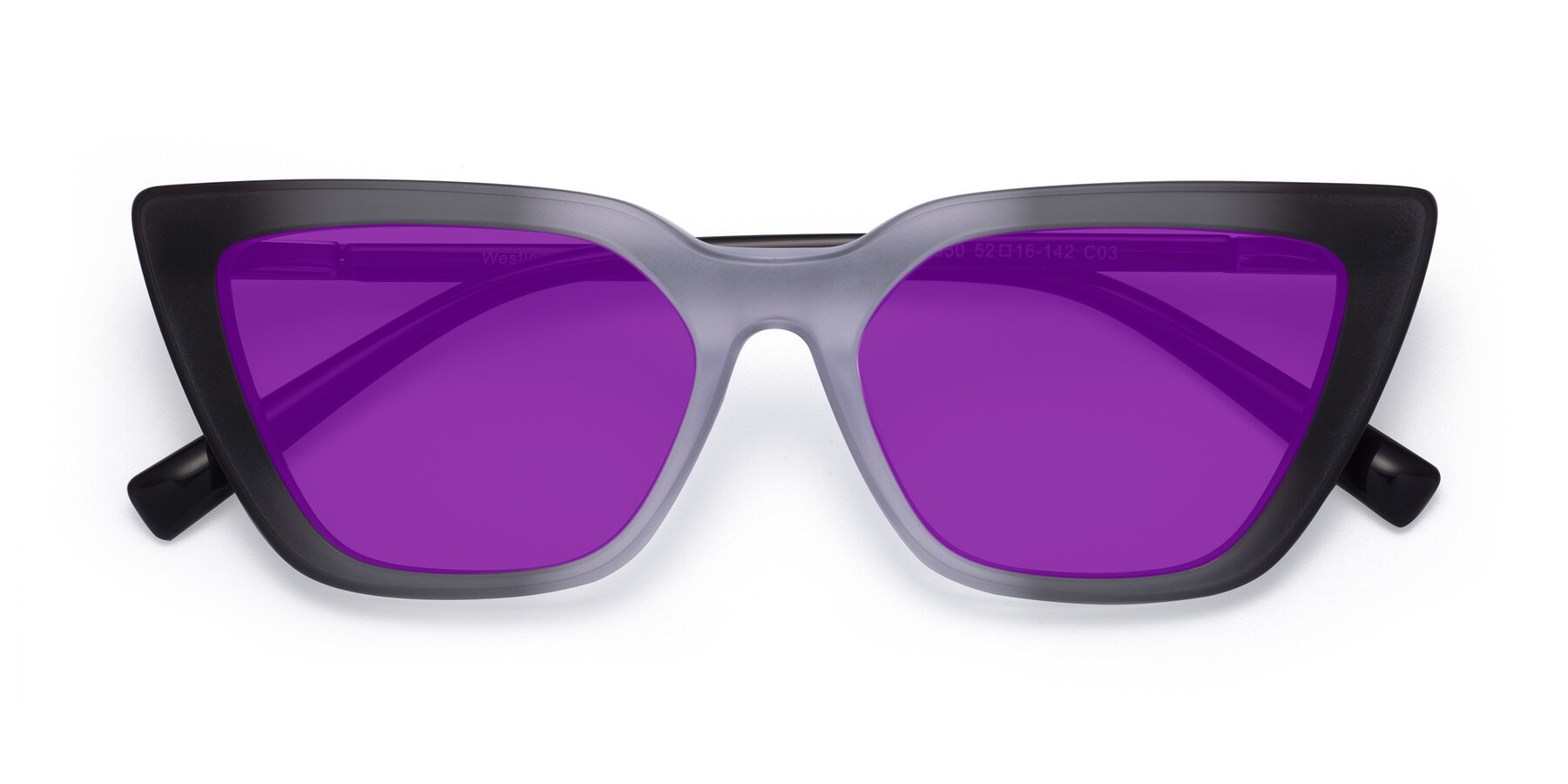 Folded Front of Westley in Gradient Black with Purple Tinted Lenses