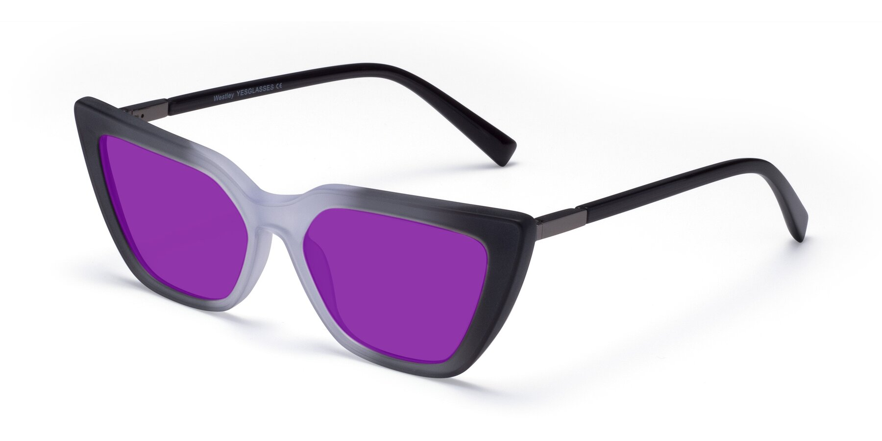 Angle of Westley in Gradient Black with Purple Tinted Lenses
