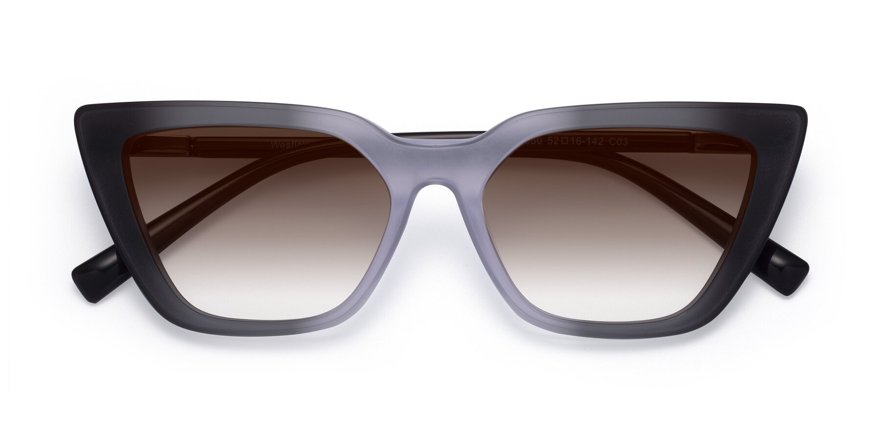 Folded Front of Westley in Gradient Black with Brown Gradient Lenses