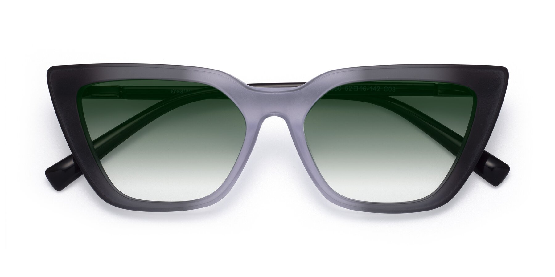 Folded Front of Westley in Gradient Black with Green Gradient Lenses