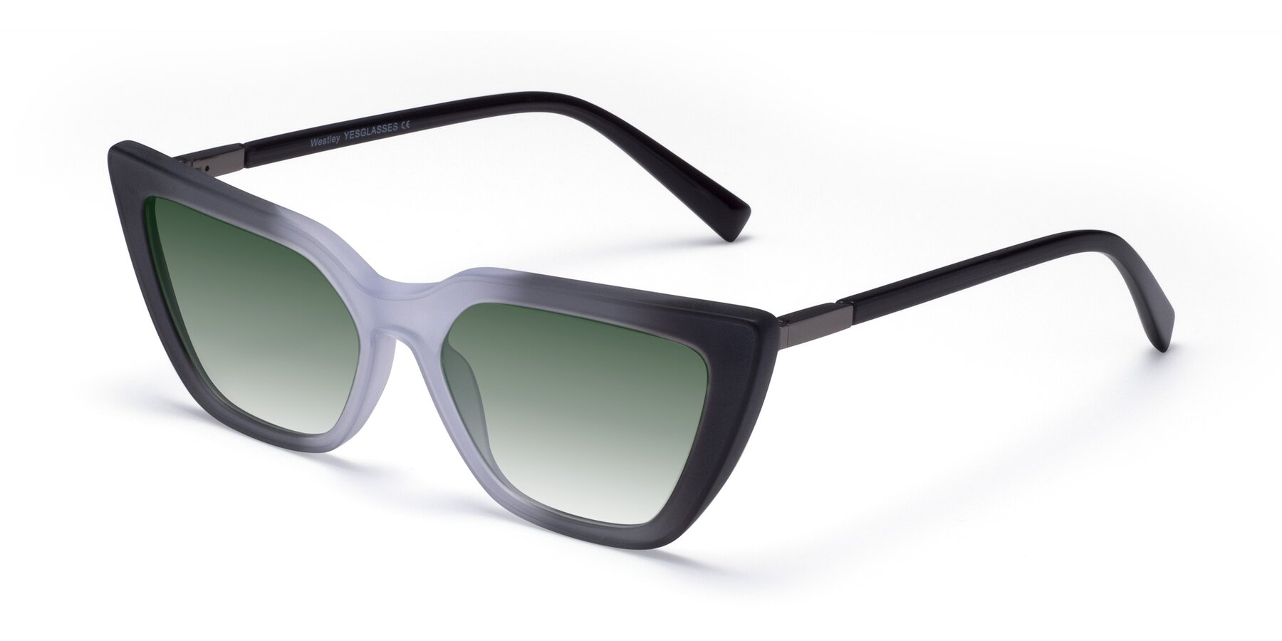 Angle of Westley in Gradient Black with Green Gradient Lenses