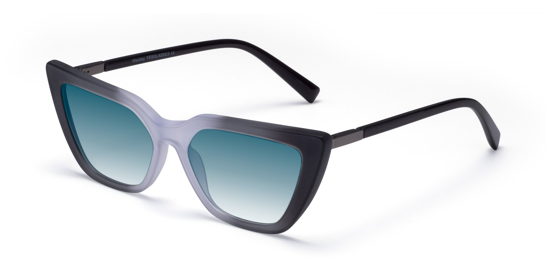 Angle of Westley in Gradient Black with Blue Gradient Lenses