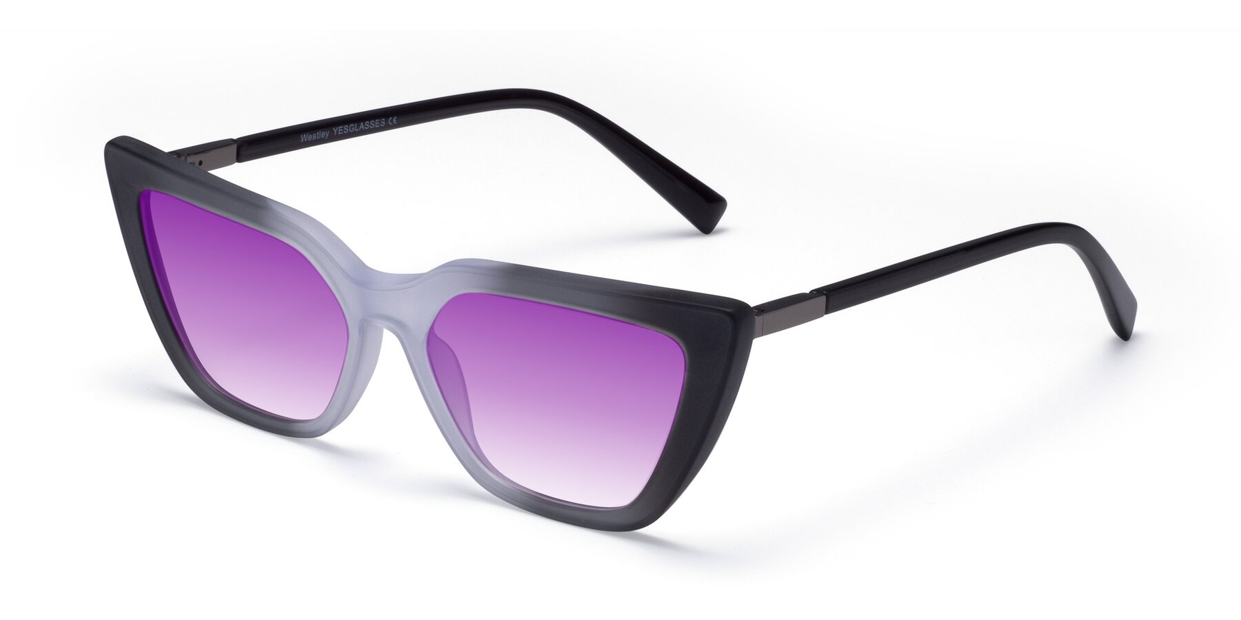 Angle of Westley in Gradient Black with Purple Gradient Lenses