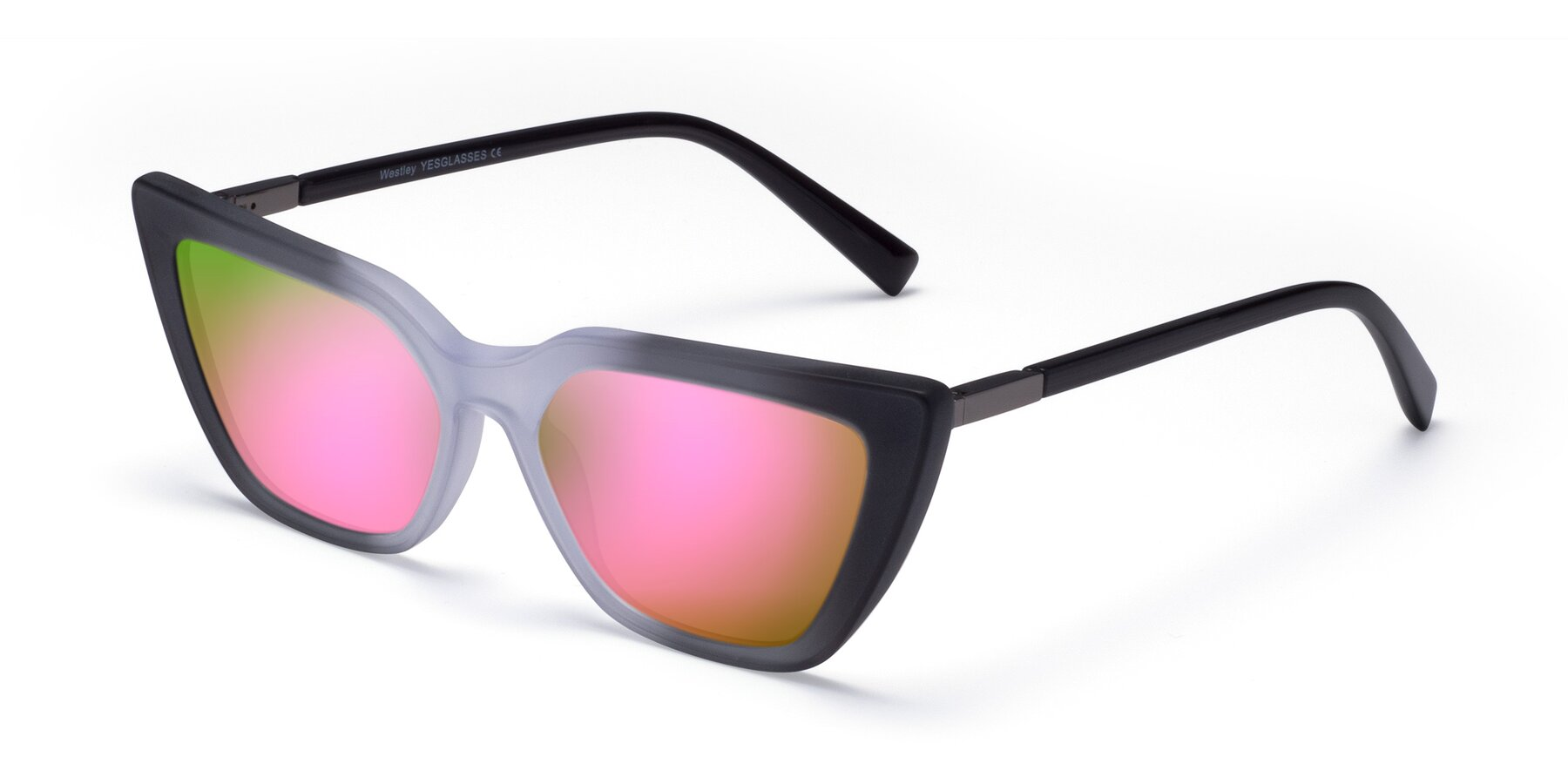 Angle of Westley in Gradient Black with Pink Mirrored Lenses
